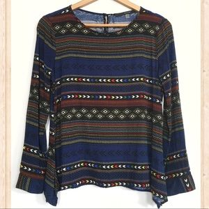 Fun 2 Fun tribal print 3/4 sleeve blouse